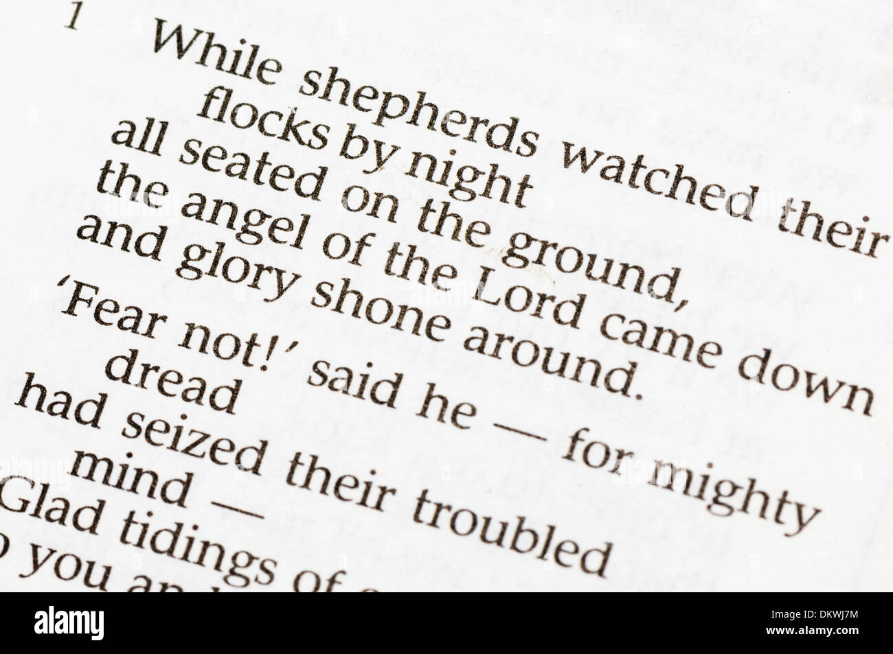 Christmas carol  - 'While Shepherds Watched Their Flocks By Night' - Stock Image