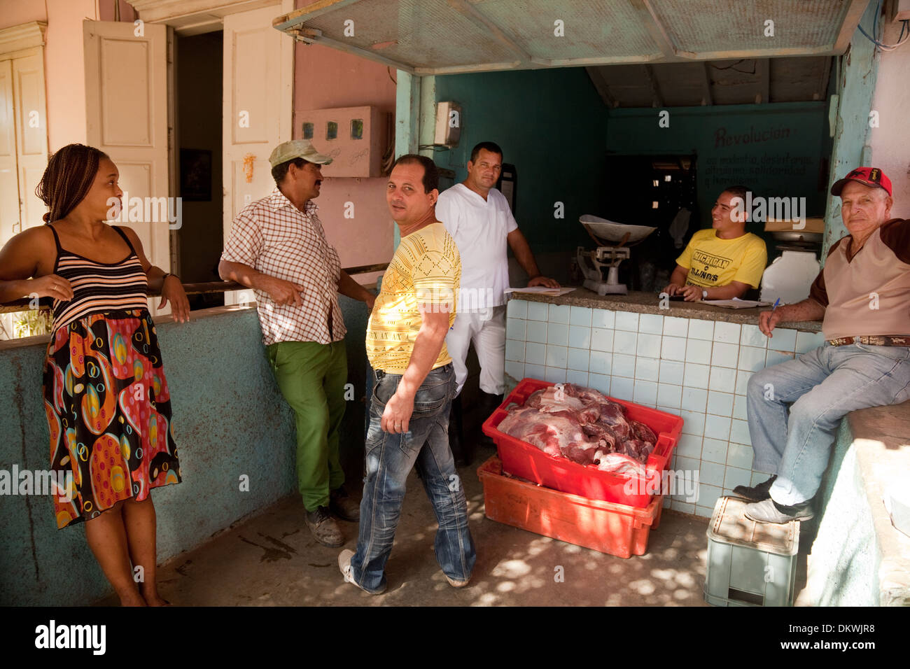 People at the local butchers shop, Vinales town, Cuba Caribbean - Stock Image