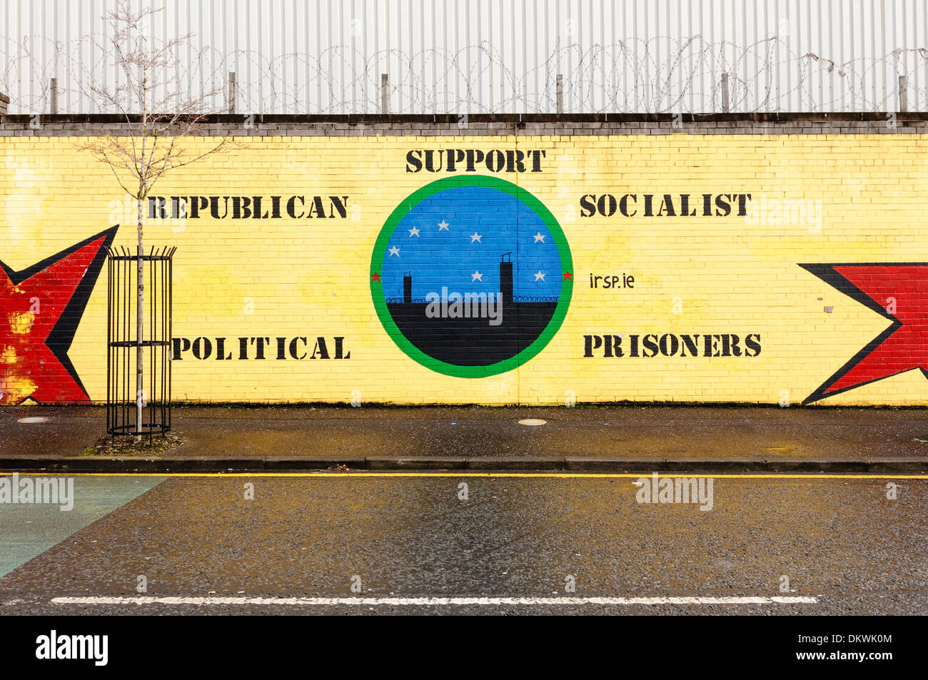 Mural at the International Peace Wall, Belfast for the Irish Republican Socialist Party. - Stock Image