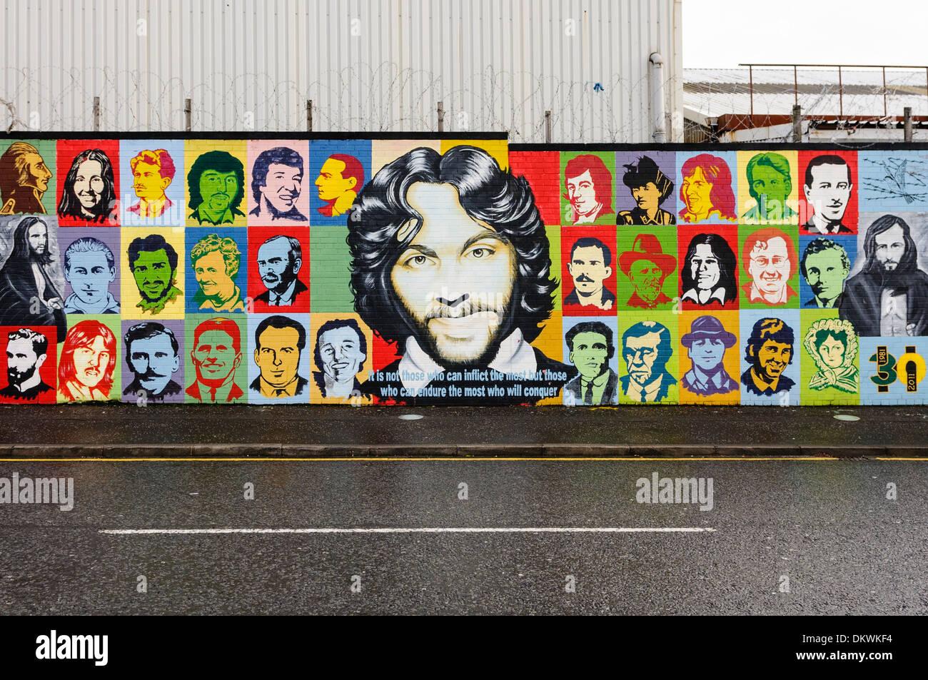 Irish Republican mural at the International Peace Wall, Belfast - Stock Image