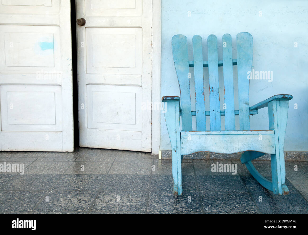 Rocking chair on veranda, Vinales town, Cuba, Caribbean - Stock Image
