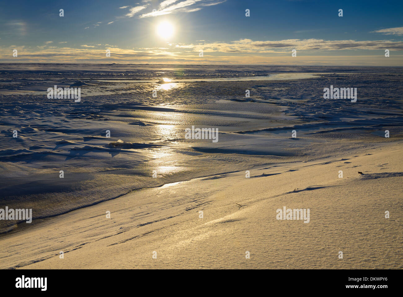 Ice and snow at the mouth of Sag river emptying into Prudhoe Bay Beaufort Sea Arctic Ocean Deadhorse Alaska USA - Stock Image