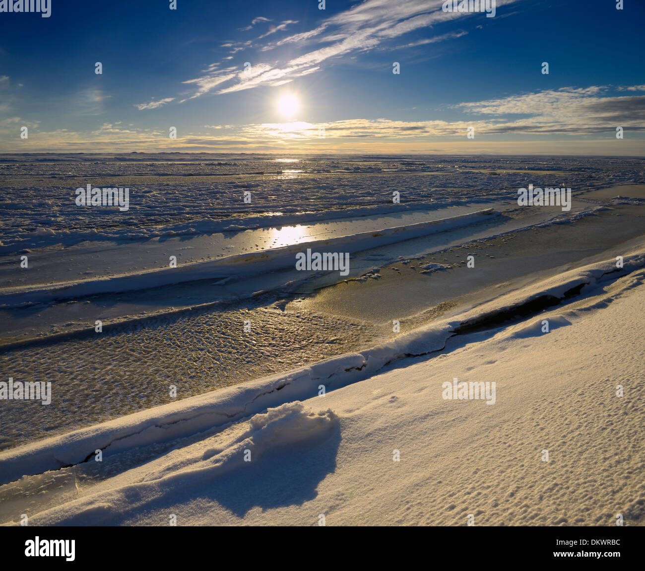 Ice formations at the mouth of Sag river emptying into Prudhoe Bay Beaufort Sea Arctic Ocean at Deadhorse Alaska Stock Photo