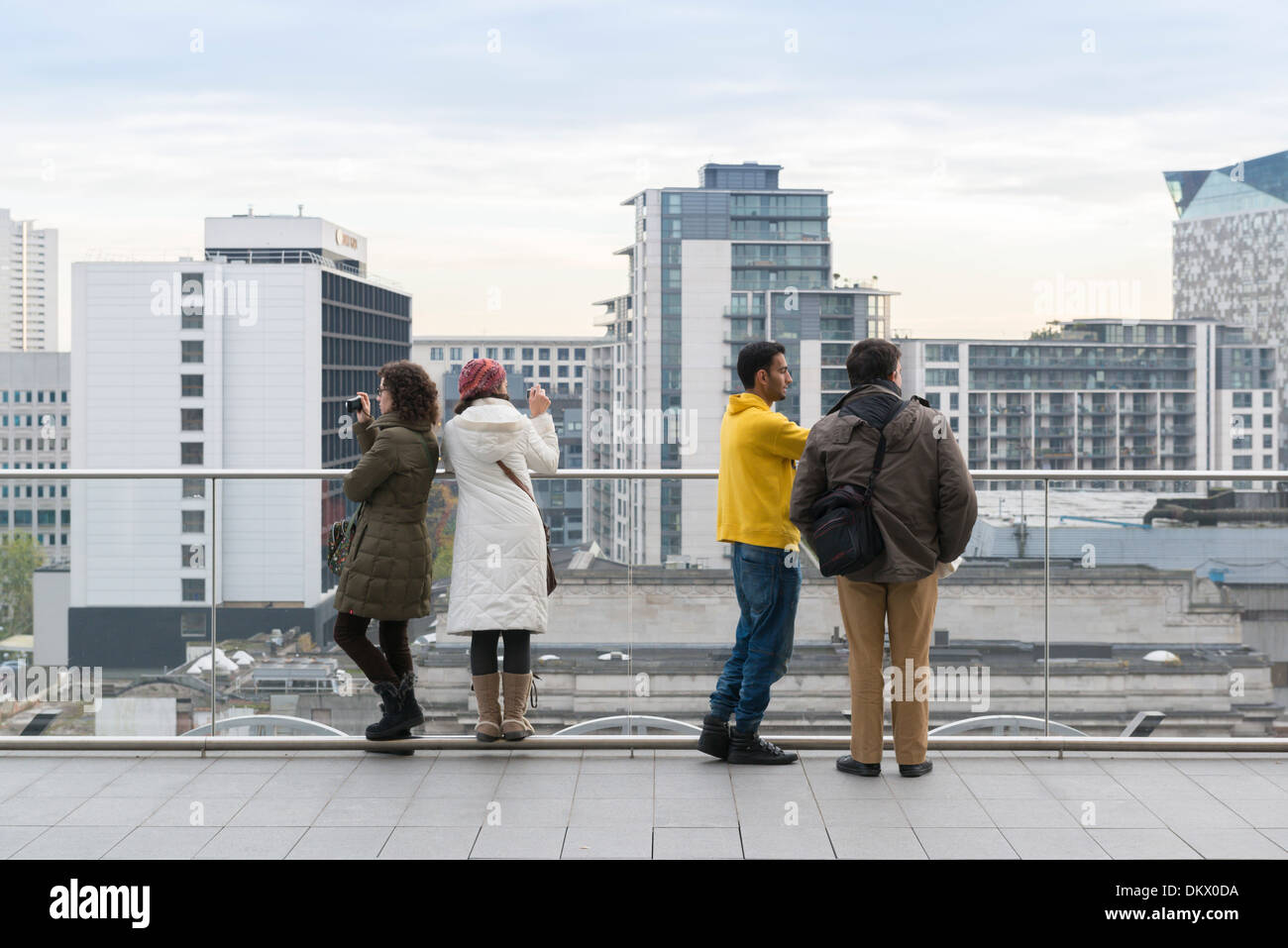 Visitors on the terrace of the new Library of Birmingham, England. - Stock Image