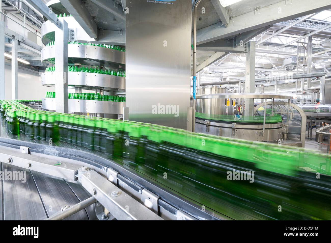A beer bottling factory - Stock Image