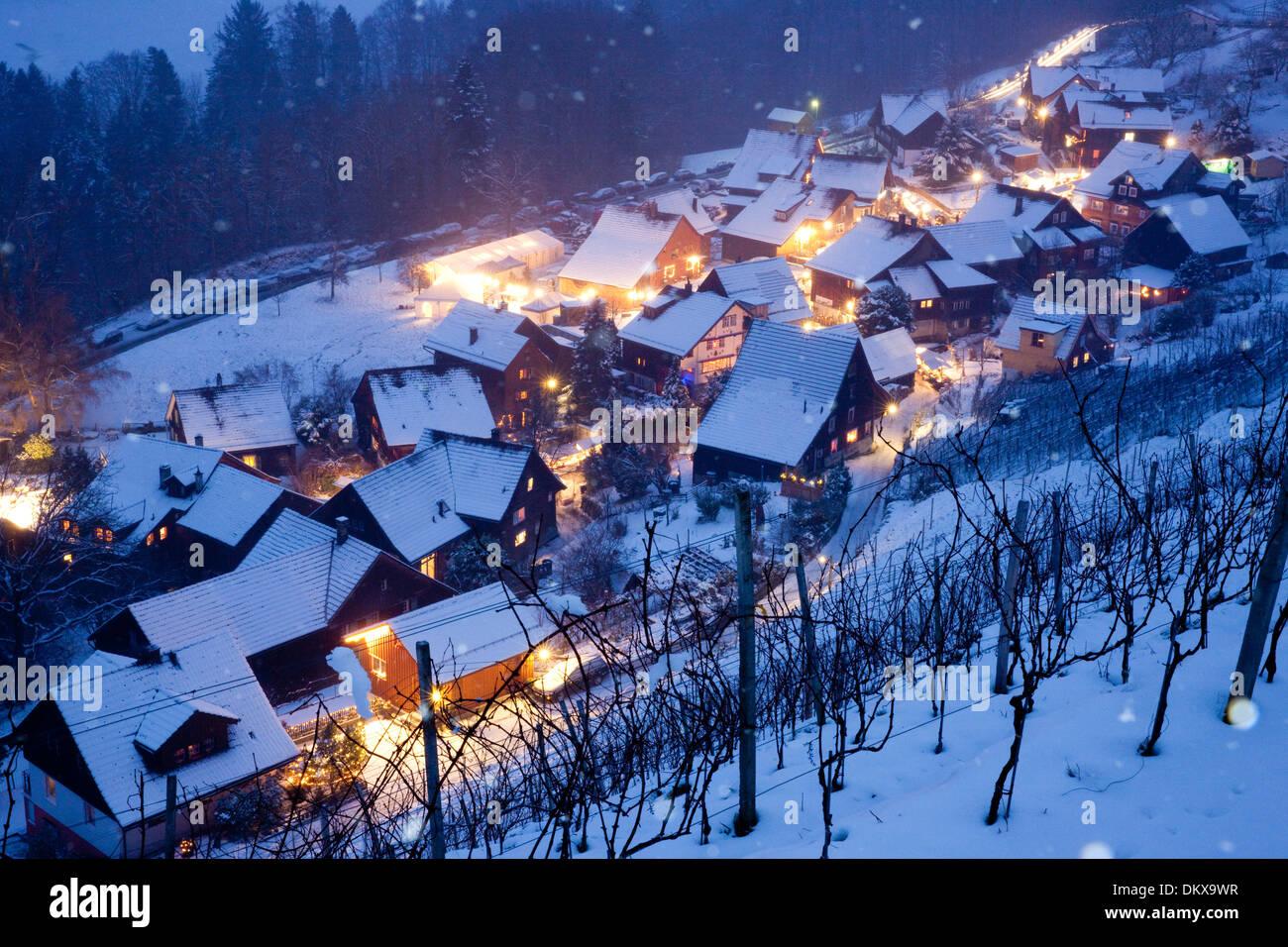 Switzerland Europe Night Wienacht Village Dark Winter