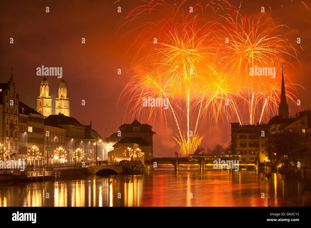 Switzerland Europe fire reflection event canton ZH Zurich New Year\'s ...