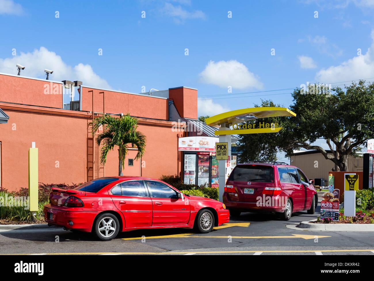 A McDonald's restaurant Drive-thru, Florida, USA - Stock Image