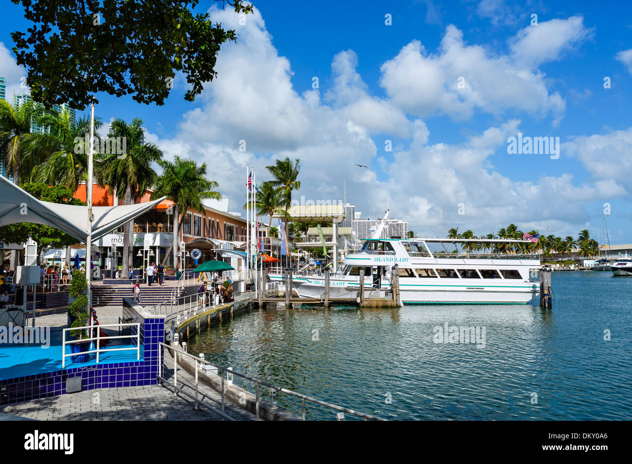 The waterfront at Bayside Marketplace in downtown Miami, Florida, USA - Stock Image
