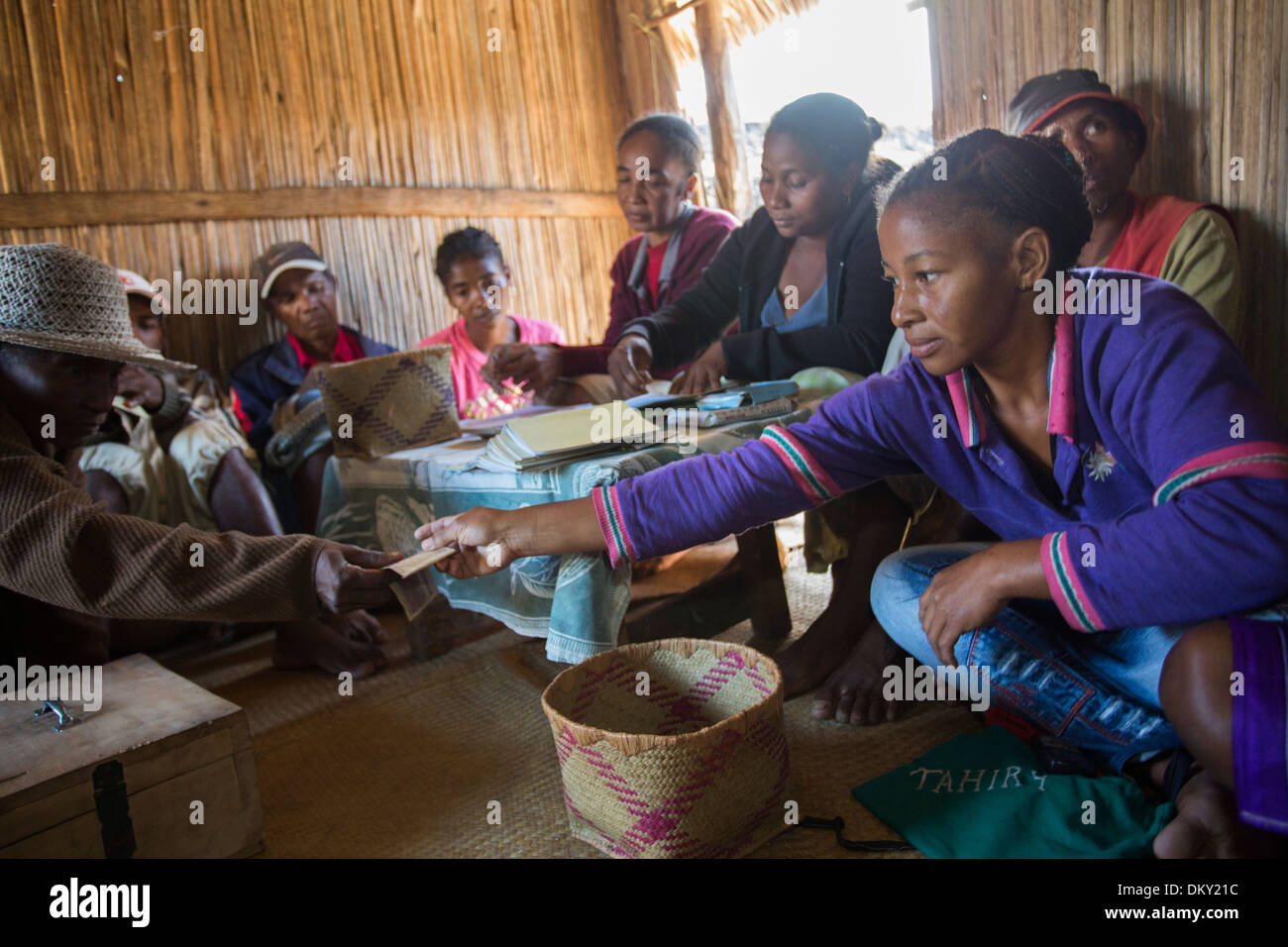 Village micro-finance meeting in Vatomandry District, Madagascar - Stock Image