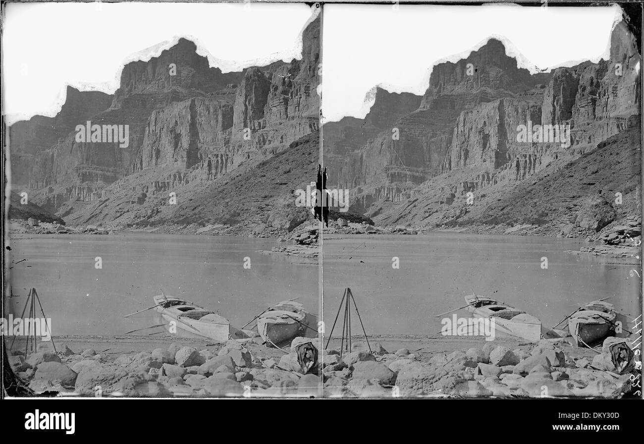 Colorado River. Grand Canyon, near Little Colorado mouth, view from south side. Two of the 1872 boats are anchored.... 518017 - Stock Image