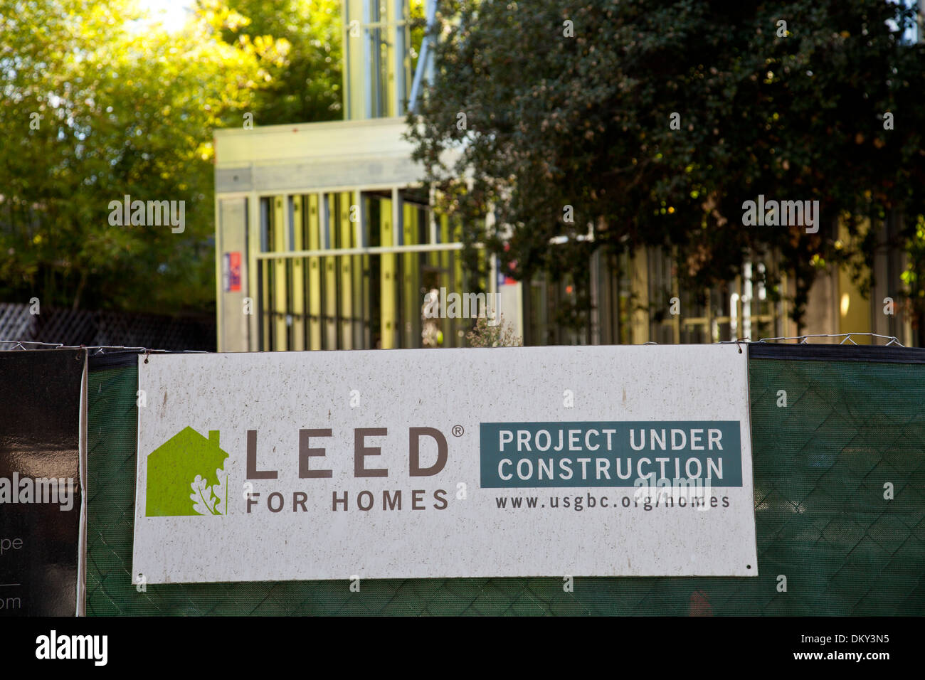 LEEd home construction sign in Los Angeles. Stock Photo