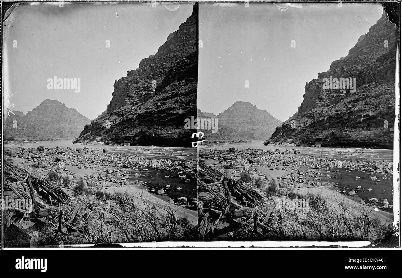 Green River. Canyon of Desolation. Ripout fence left foreground. Old nos. 344, 362, 756. 517948 - Stock Image