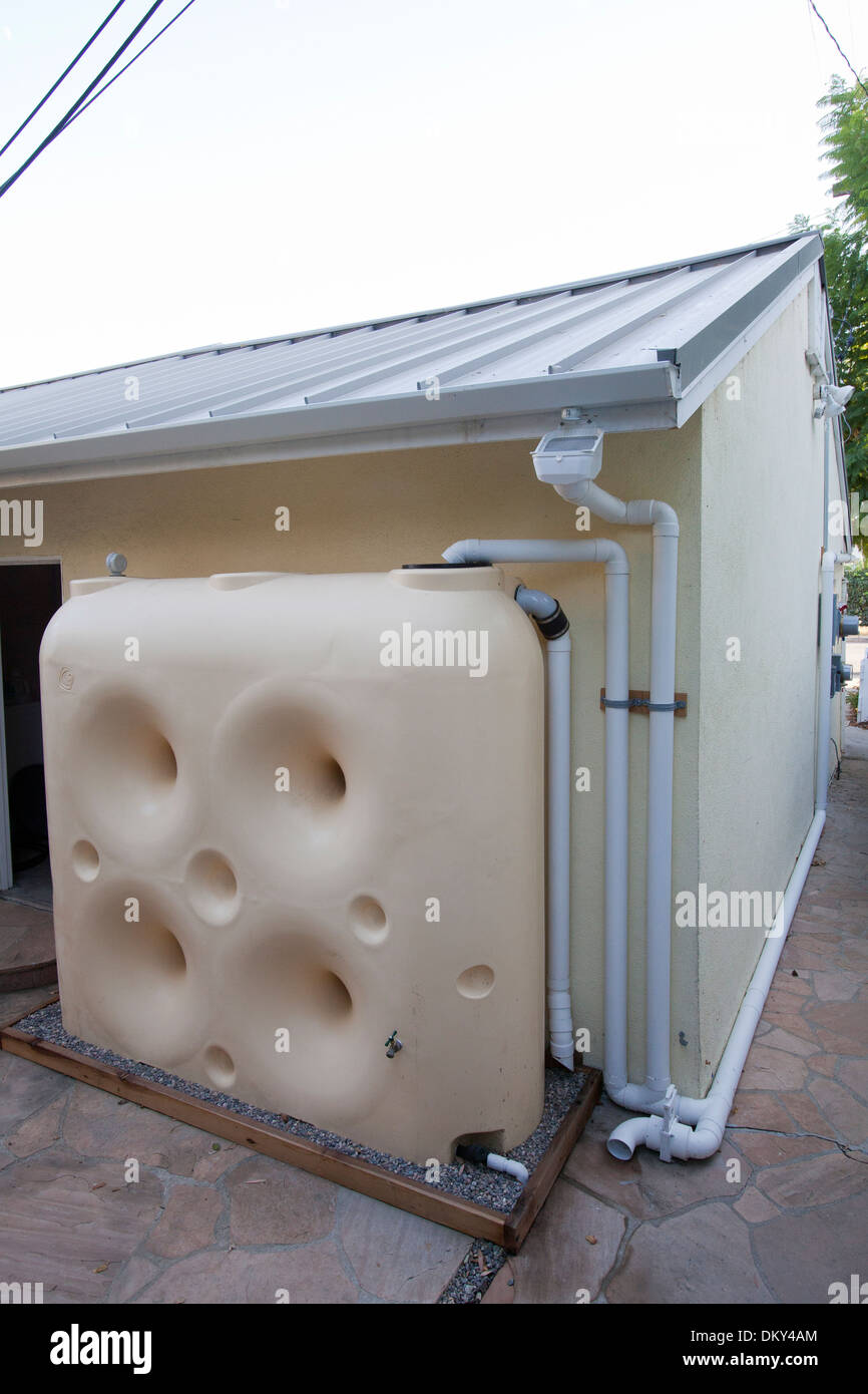 Rainwater harvesting system on a Green home that is off the grid. Los Angeles, California, USA - Stock Image