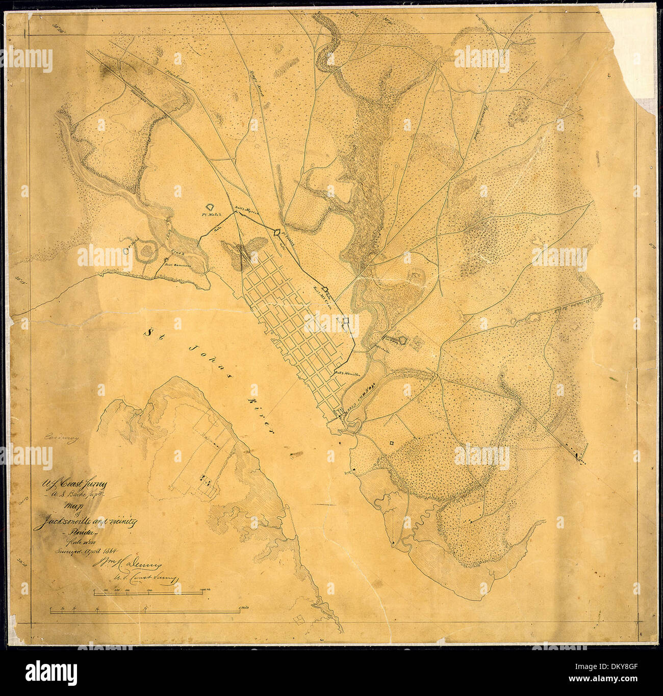 Map Of Jacksonville Florida.Old Map Of Jacksonville Stock Photos Old Map Of Jacksonville Stock