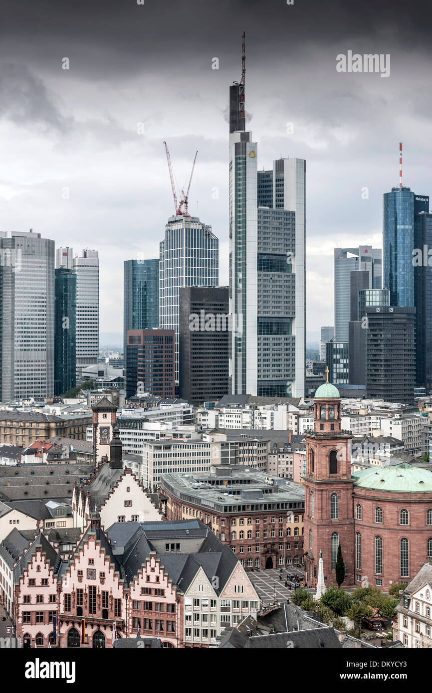 Skyline, black clouds over financial district, Frankfurt, Hesse, Germany - Stock Image
