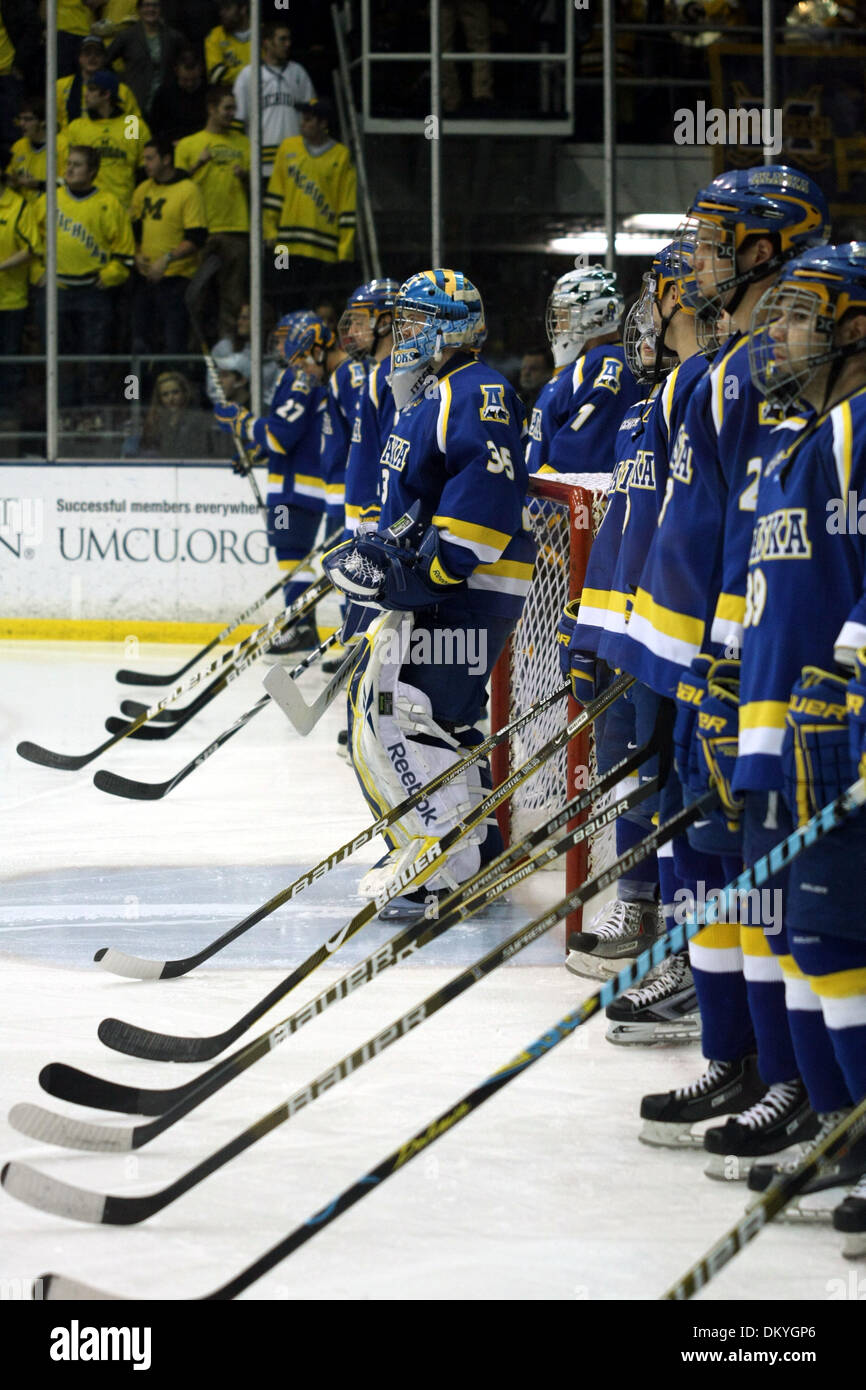 Jan. 15, 2010 - Ann Arbor, Michigan, USA - 15 January 2010: The Alaska hockey team stand during the national anthem. Michigan defeated Alaska 6-0 in a game played at Yost Arena in Ann Arbor, Michigan. (Credit Image: © Alan Ashley/Southcreek Global/ZUMApress.com) - Stock Image