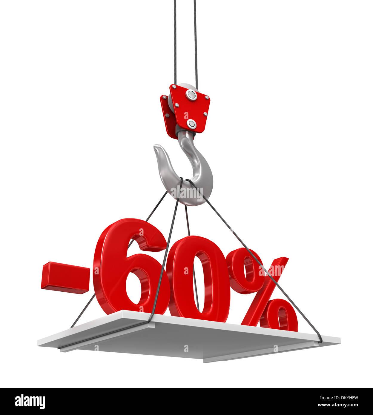 Percent On Crane Hook - Stock Image