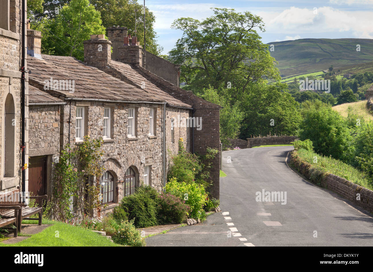 The village of Muker, Swaledale, Yorkshire Dales, England. - Stock Image