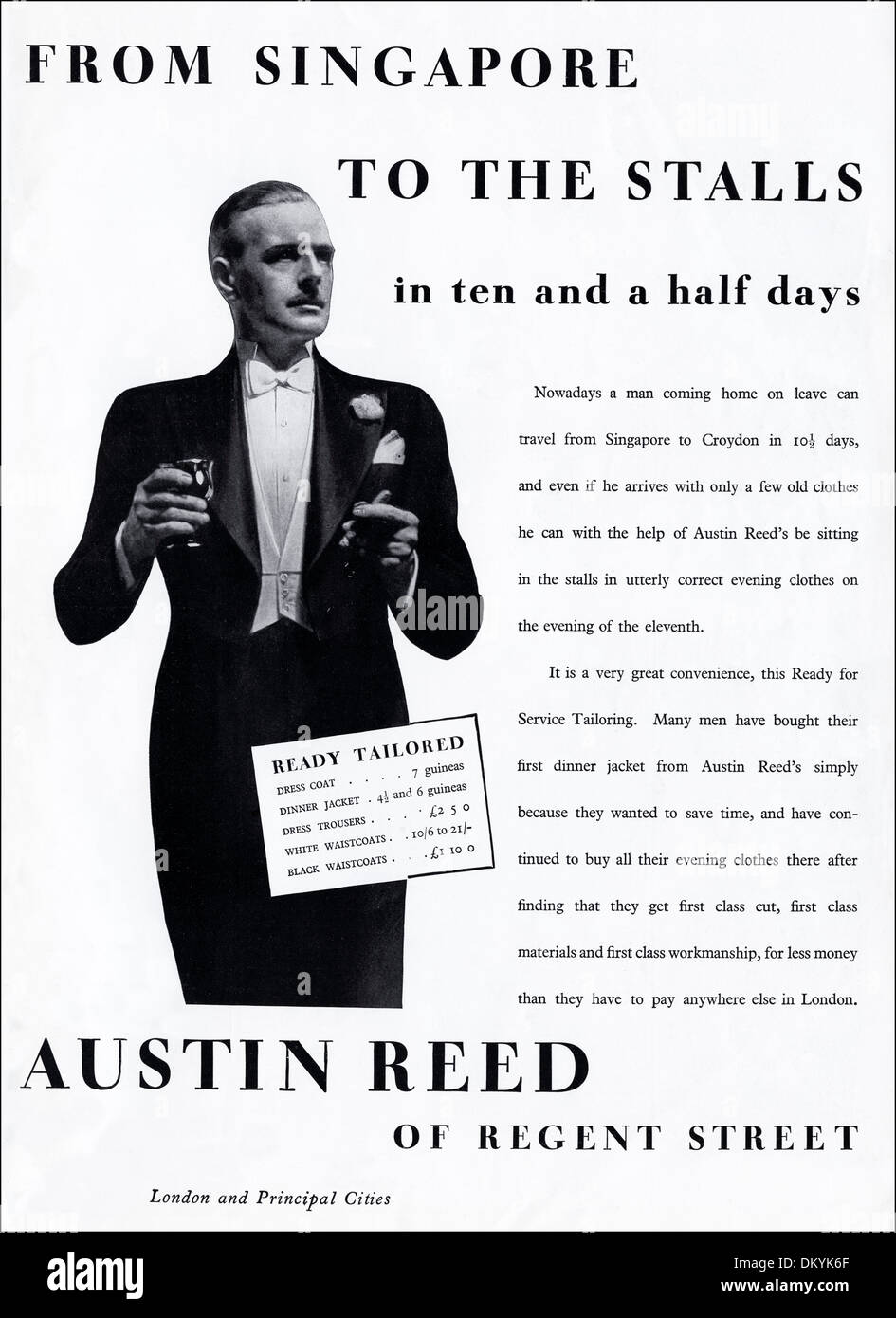 1930s Original Vintage Magazine Advertisement Advertising Austin Reed Stock Photo Alamy