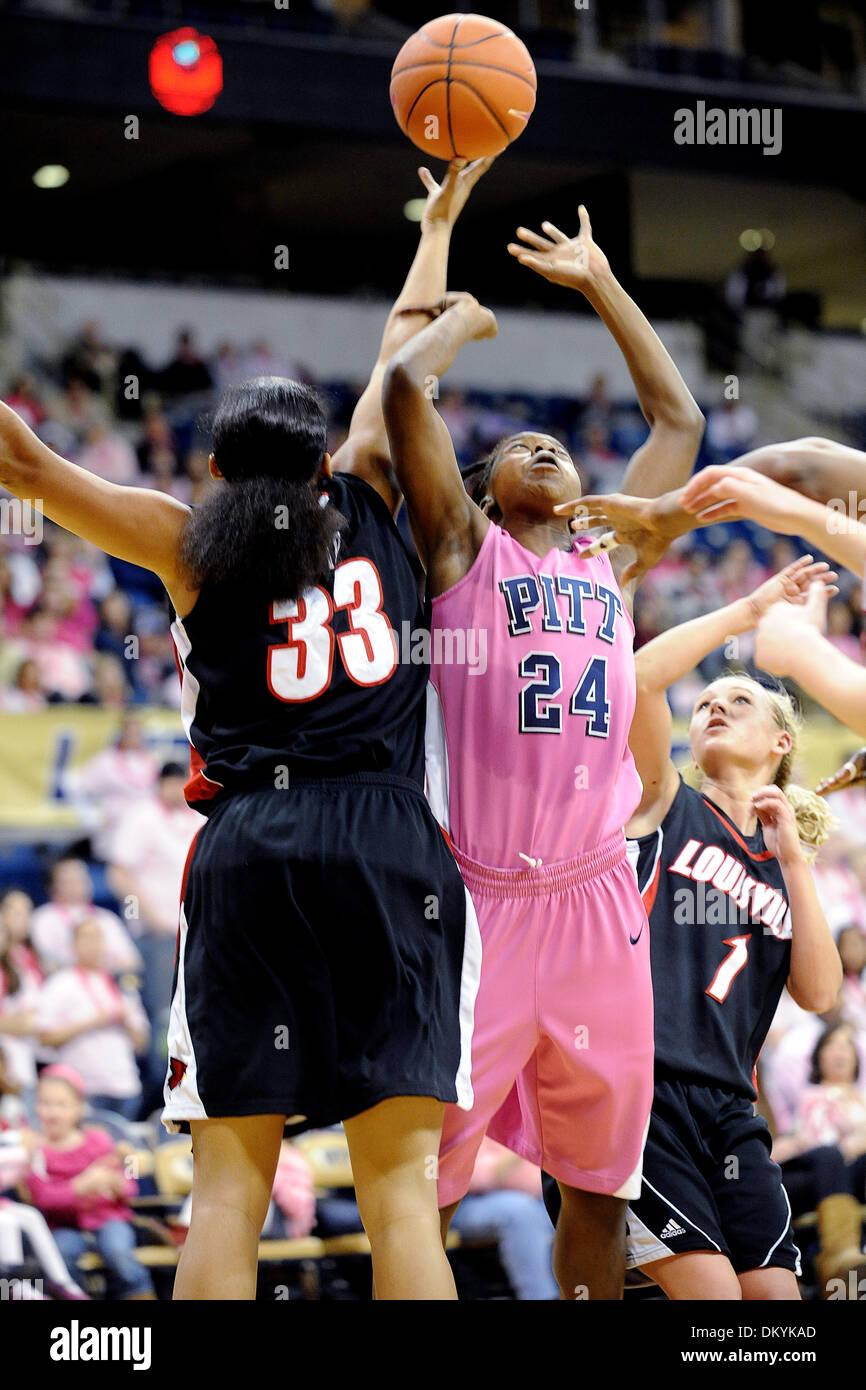 Feb. 14, 2010 - Pittsburgh, PA, U.S - 14 February 2010: University of Pittsburgh sophomore guard Sarah Ogoke (24) Stock Photo