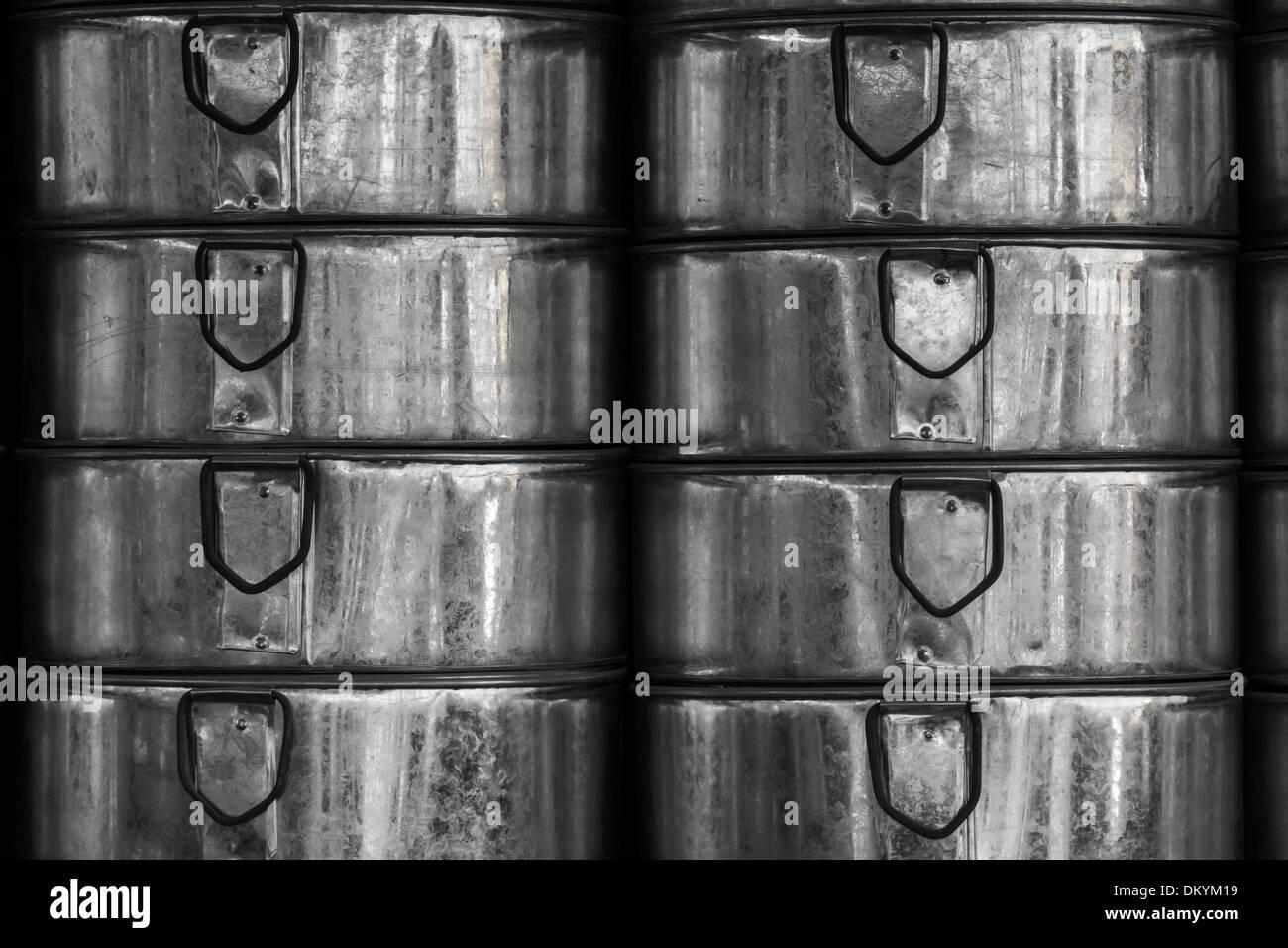 India, Rajasthan, Naguar, galvanized sheet metal contaniners - Stock Image