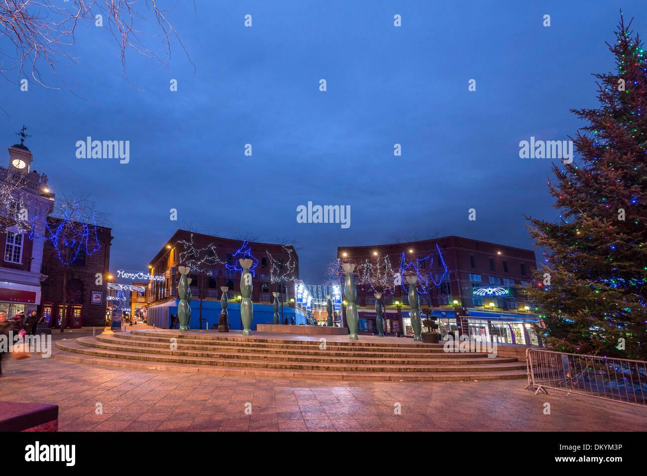 Warrington town centre christmas lights. 2013 Stock Photo