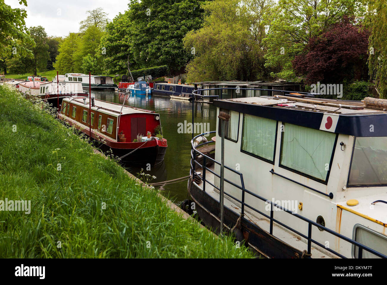GV of boats on the River Cam in Cambridge. - Stock Image