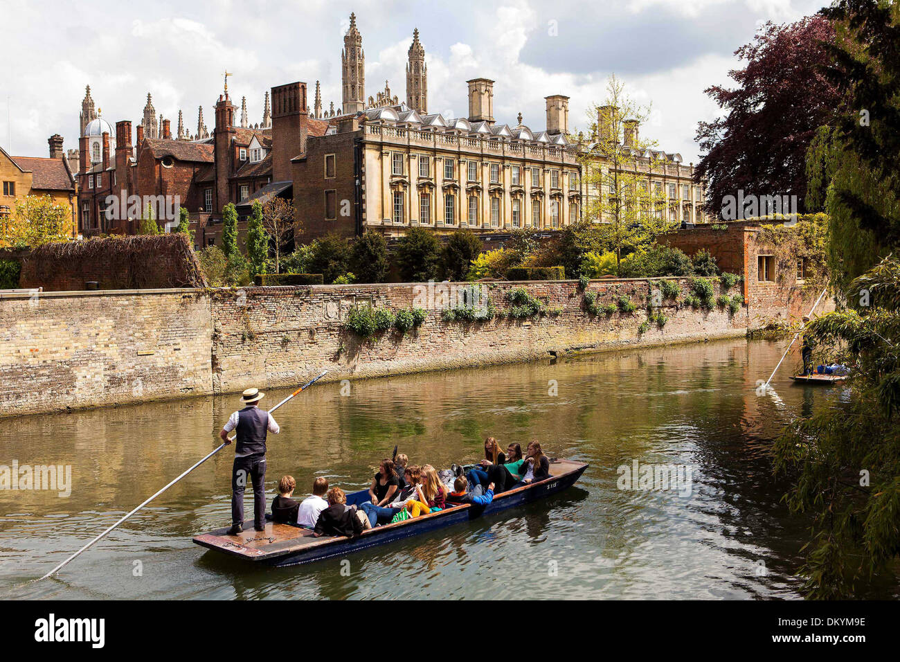 Groups of people punt down the River Cam in Cambridge, past Kings College today, Thursday in the spring sunshine, May 16 2013. - Stock Image