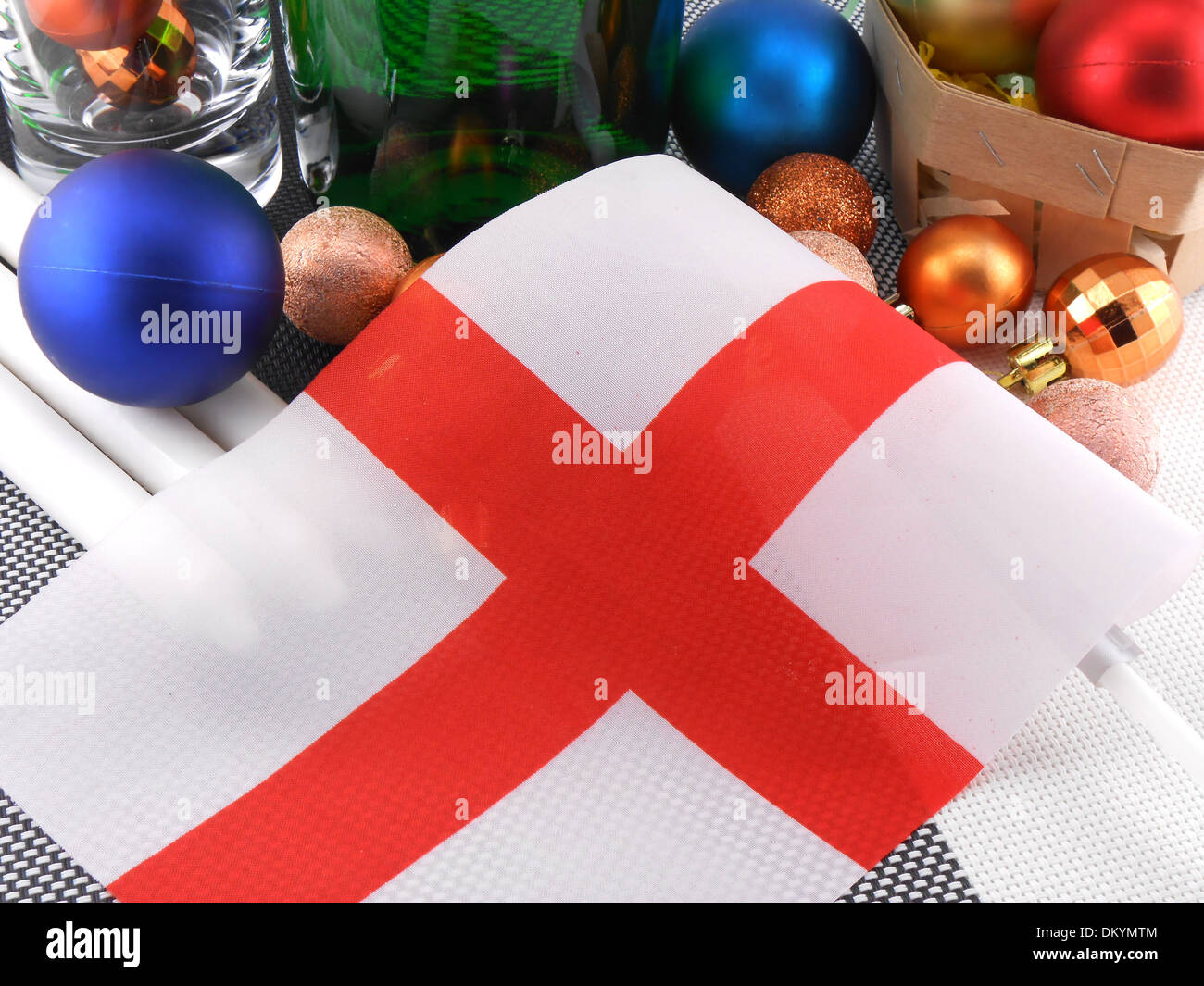 England Flag With Christmas Decoration New Year Card