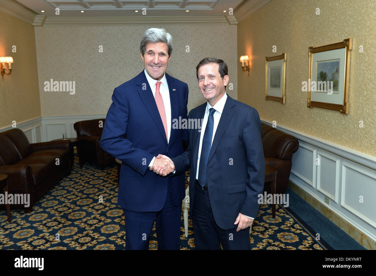 Secretary Kerry Meets With Israeli Opposition Leader Herzog - Stock Image