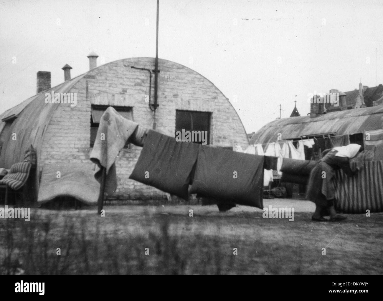 View of Nissen huts at the train station Hohenzollerndamm, which were erected as provisional housing for a long Stock Photo