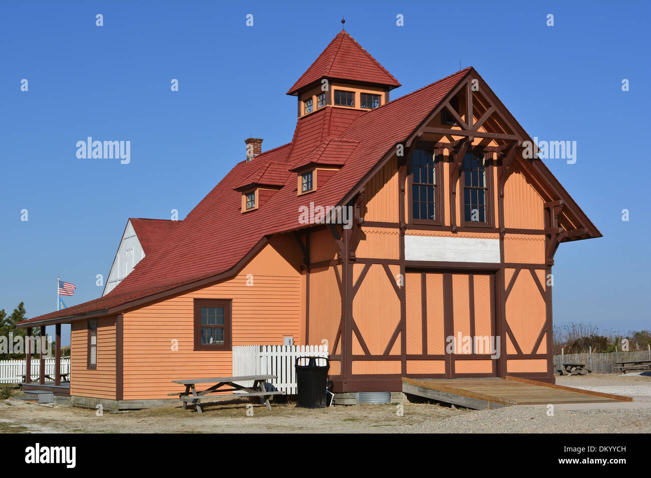 Indian River Life Saving Service Station, listed on the NRHP on September 29, 1976. North of Bethany Beach on Delaware Route 1 on the Atlantic Ocean, Bethany Beach, Sussex County, Delaware - Stock Image
