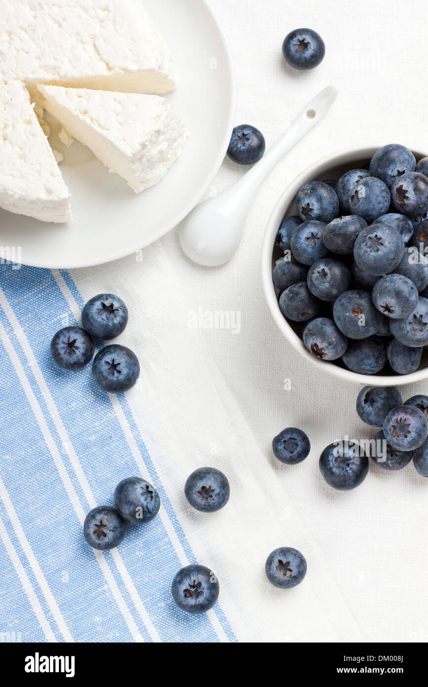 Fresh ripe blueberries and some homemade cottage cheese - Stock Image