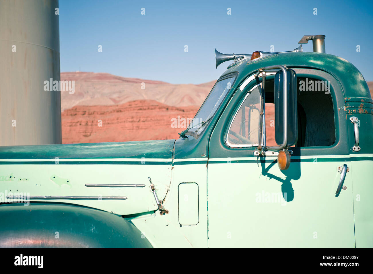 Trailer Park near Monument Valley, Mexican Hat, Utah, USA Stock Photo