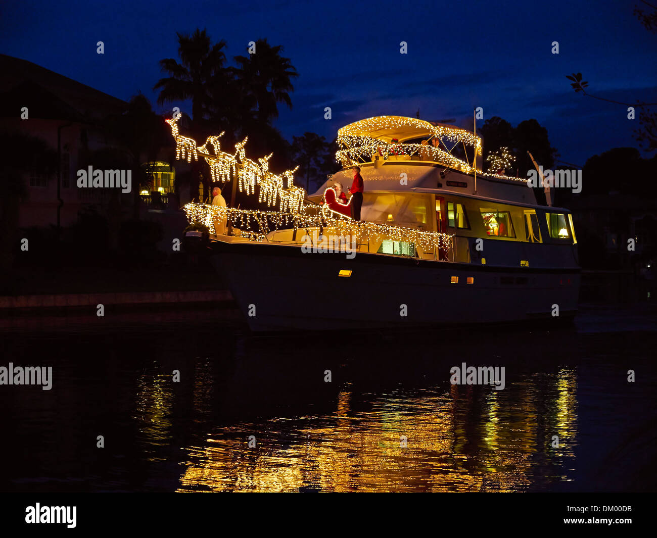 Christmas Boat Decorations.Christmas Decorations On A Boat In South Carolina A Large