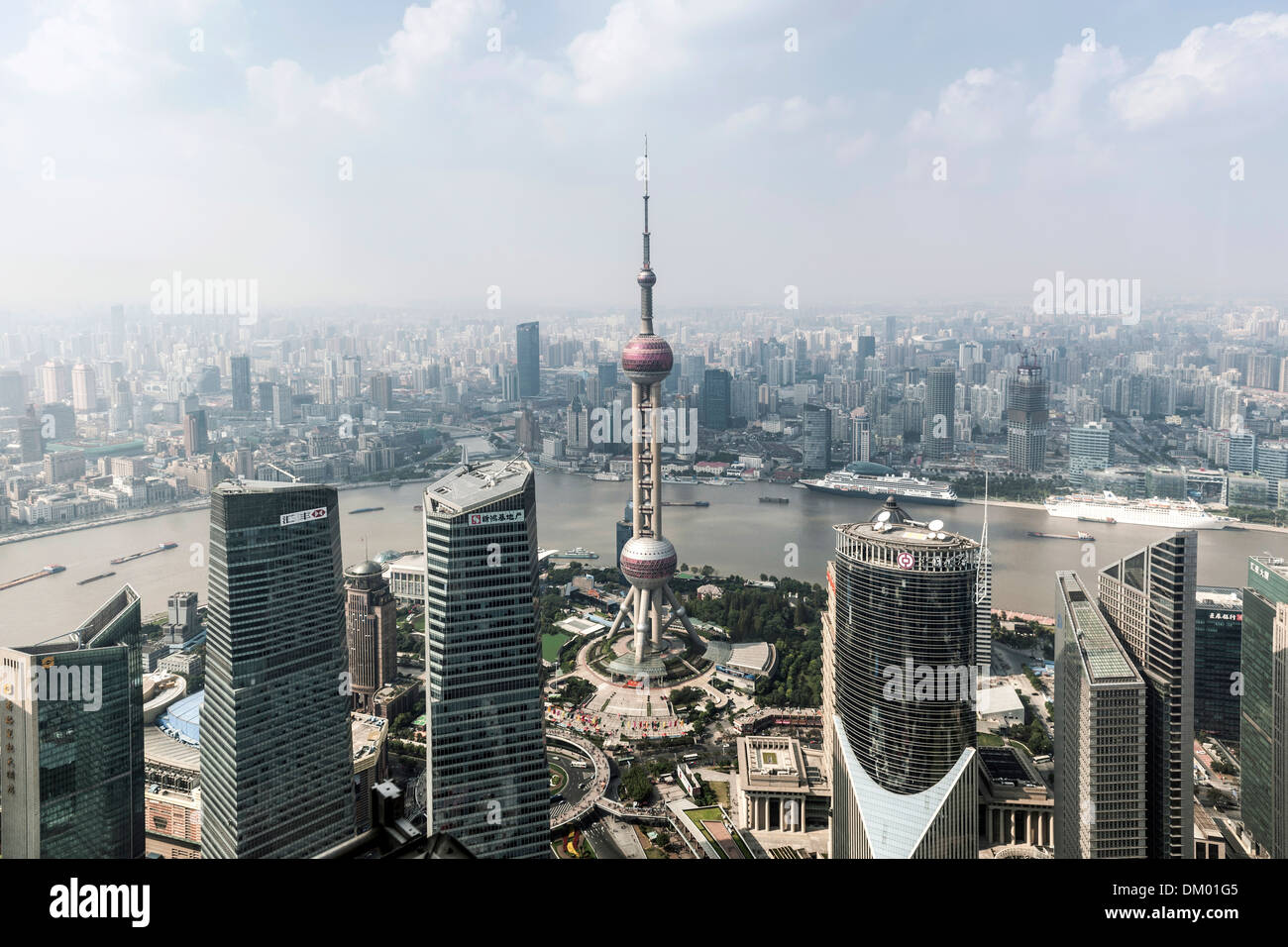 View of the Oriental Pearl Tower, Lujiazui financial district, Pudong, Shanghai, China - Stock Image