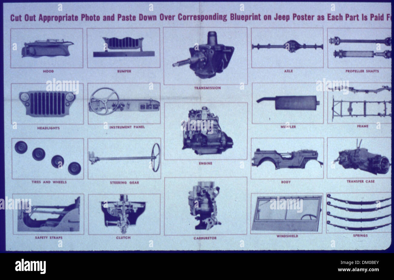 'Cut Out Appropriate Photo and Paste Down Over Corresponding Blueprint on Jeep Poster as Each Part is Paid For' 513993 - Stock Image
