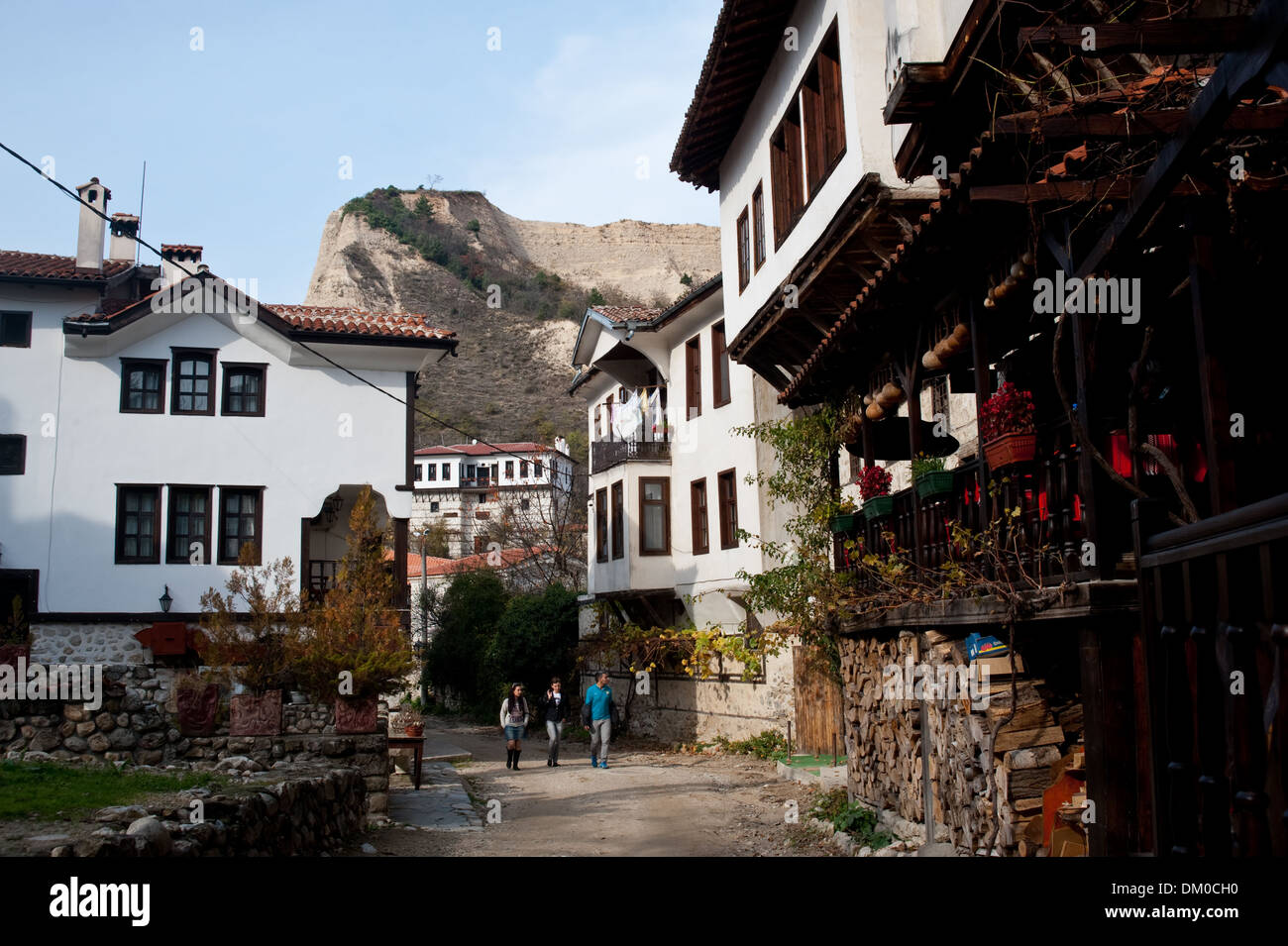 Street with traditional houses ( Bulgaria) - Stock Image