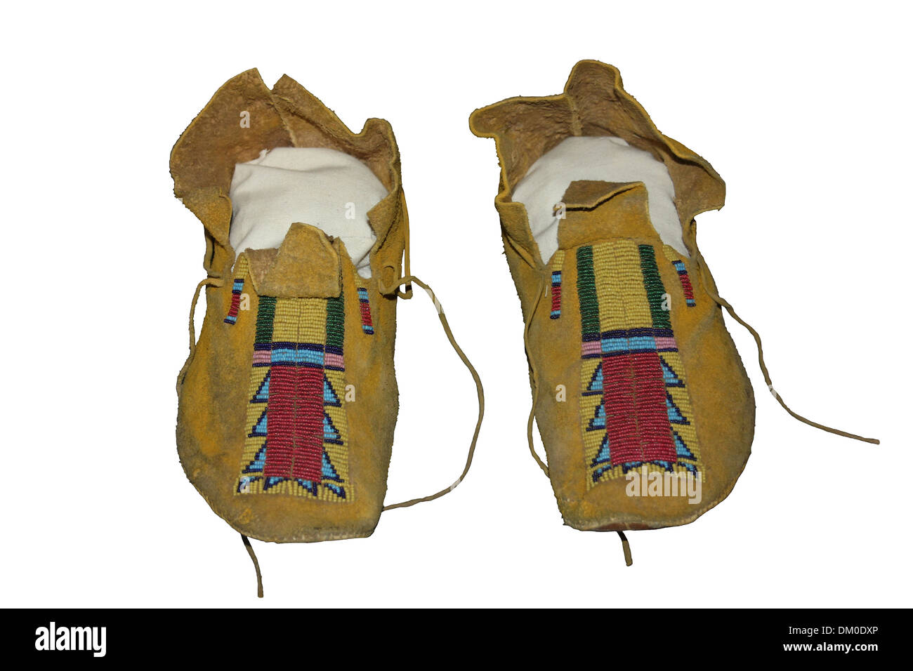 Buckskin Moccasins , Southern Plains Peoples - Stock Image