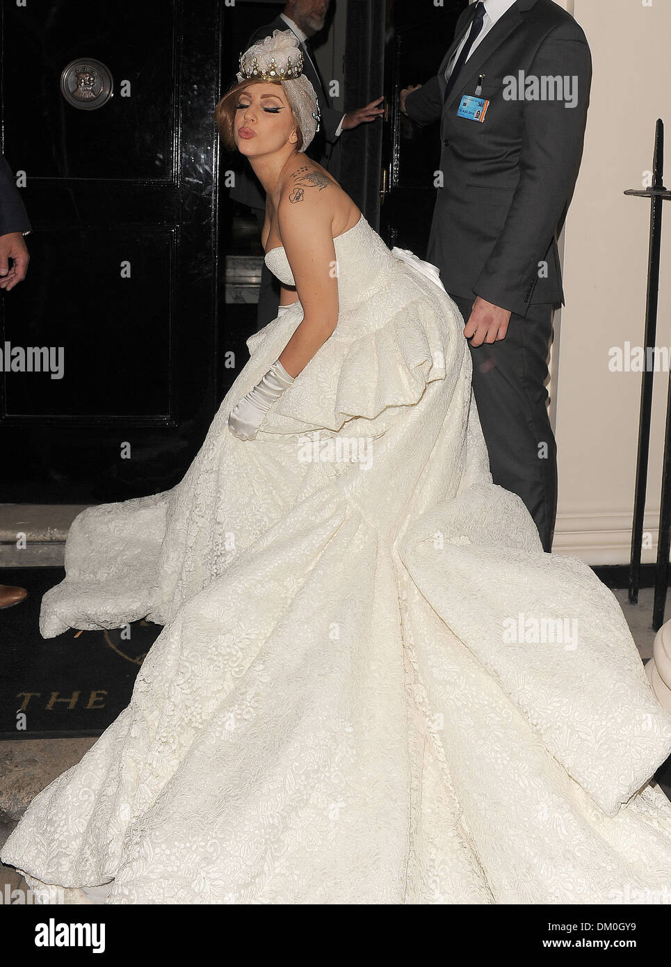 562d37a5e50 Lady Gaga arriving at Arts Club wearing a stunning wedding dress complete  with tiara London England - 10.09.12