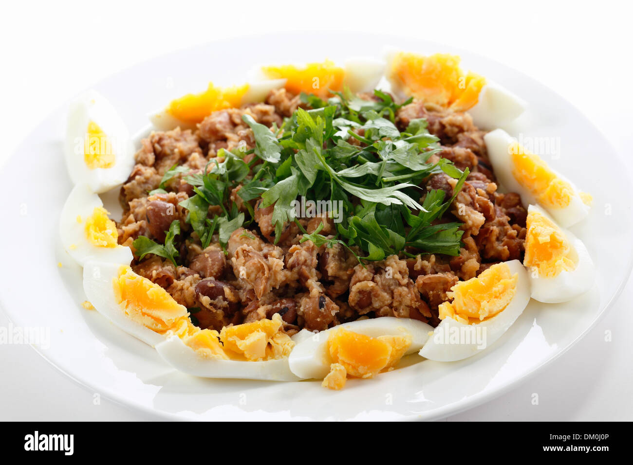 Egyptian foul - or ful - medames on a plate garneshed with slices of hard-boiled egg and flat-leaf parsley. - Stock Image