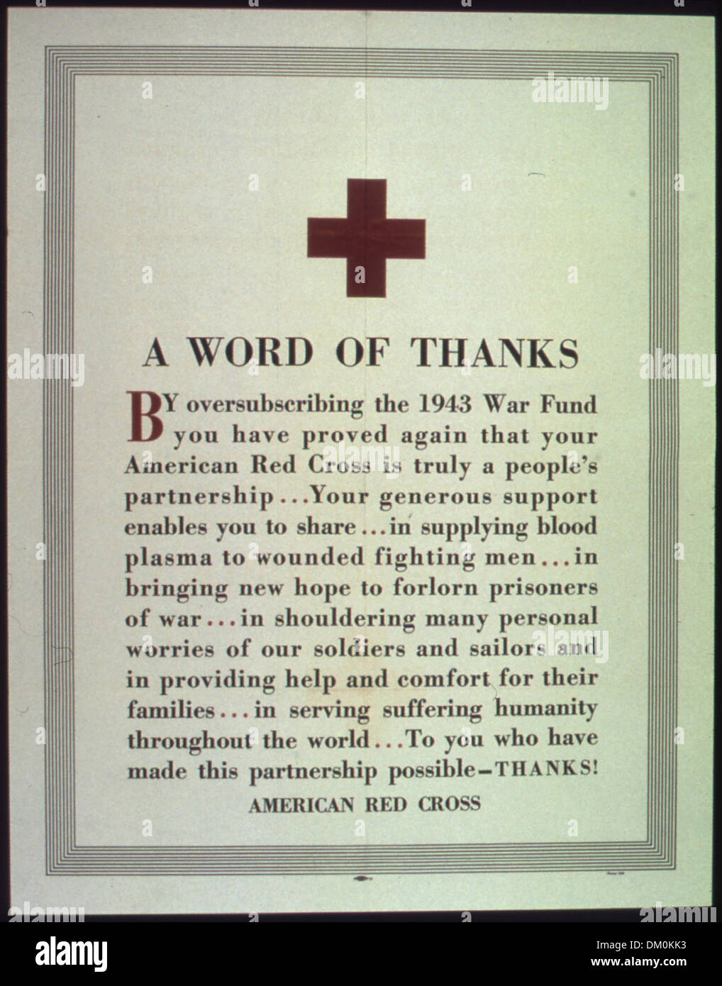 A Word Of Thanks American Red Cross 513745 Stock Photo 63939655 Alamy