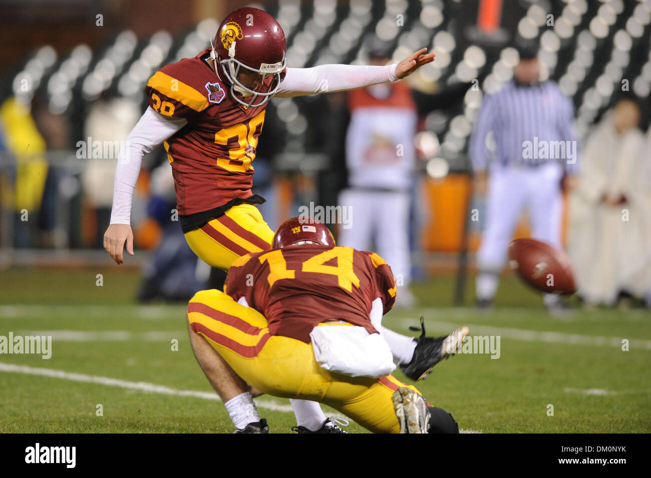 Dec. 26, 2009 - San Francisco, California, U.S - 26 December 2009: USC SR PK Jordan Congdon (38) kicks USC's opening extra point during the Emerald Bowl contest between USC and Boston College at AT&T Park in San Francisco, CA.  USC won 24-13. (Credit Image: © Matt Cohen/Southcreek Global/ZUMApress.com) - Stock Image