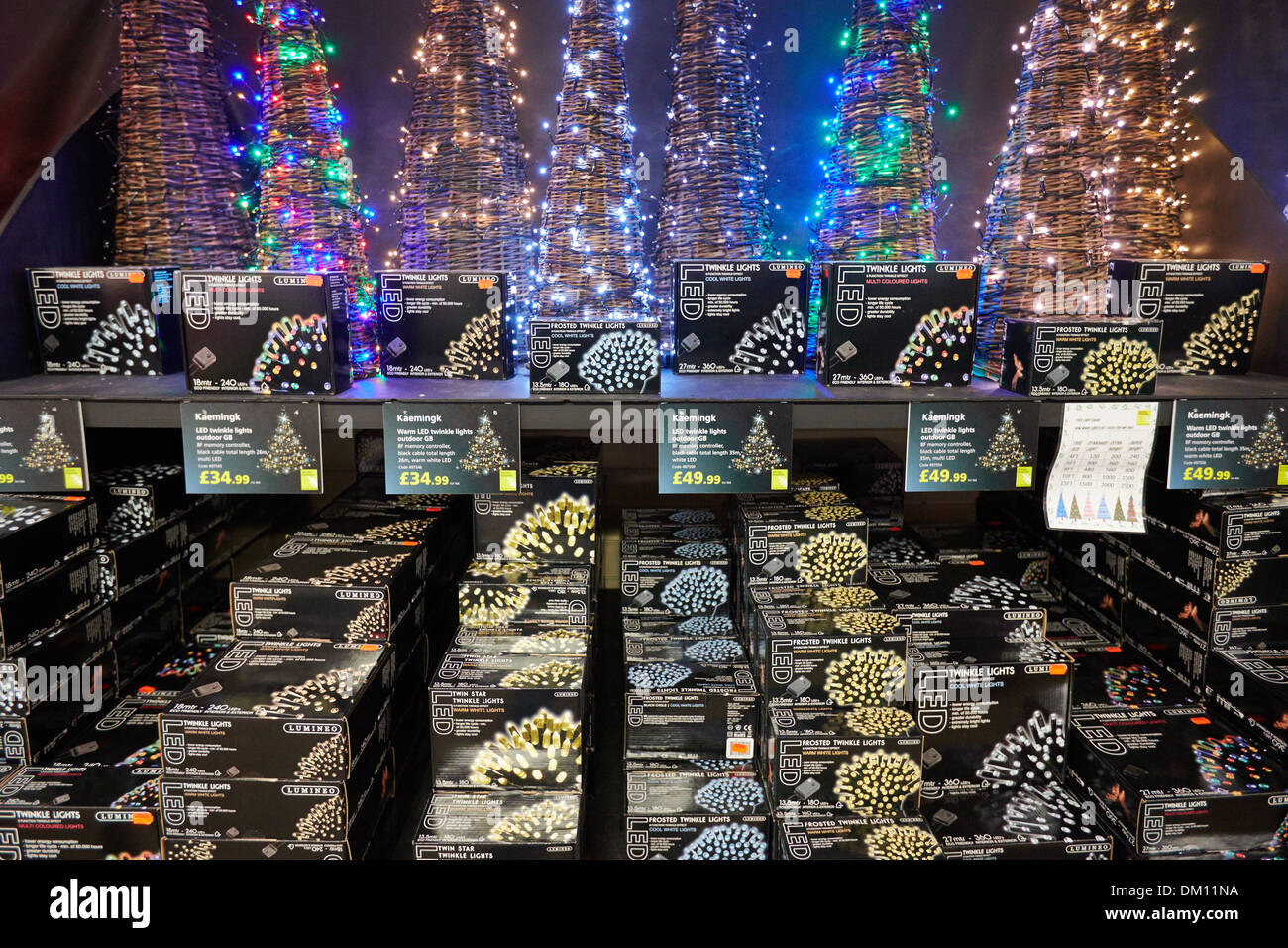 christmas led lights for sale at a garden centre stock image