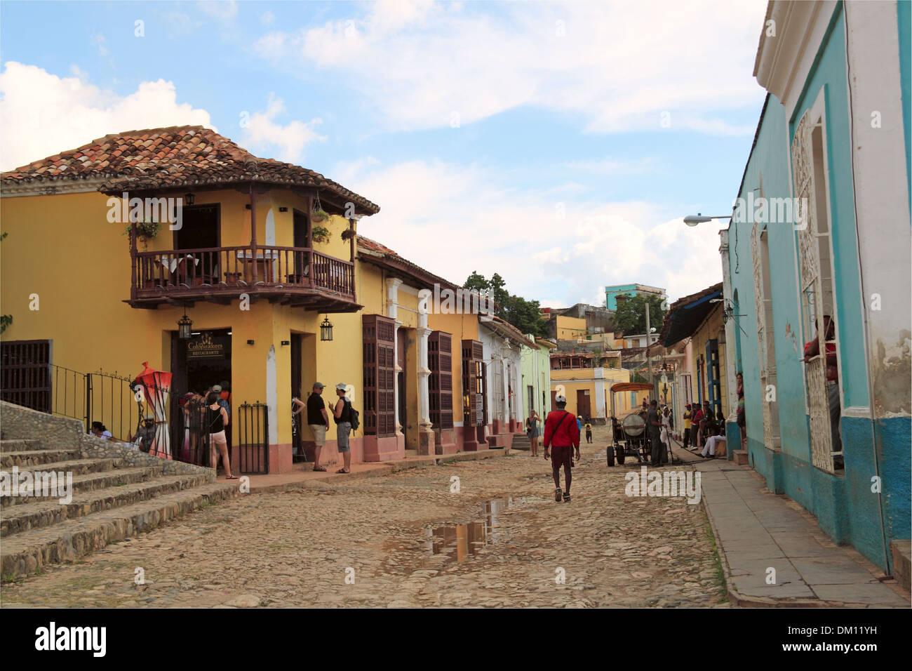 Casa de los Conspiradores, Calle Cristo, Plaza Mayor, Trinidad, Sancti Spiritus province, Cuba, Caribbean Sea, Central Stock Photo