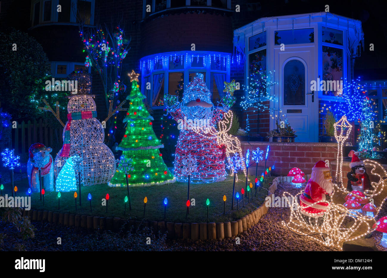 Christmas lights house uk stock photos