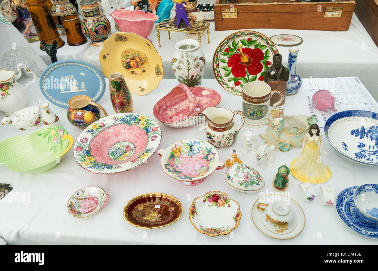 Used crockery for sale Tynemouth station covered market north east England UK - Stock Image