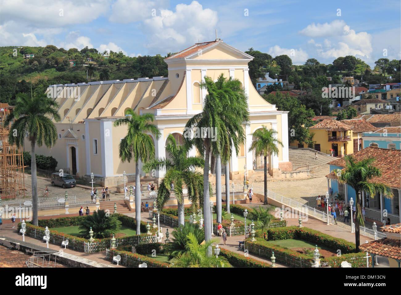 Iglesia Parroquial de la Santísima Trinidad, Plaza Mayor, Trinidad, Sancti Spiritus province, Cuba, Caribbean Sea, Central America - Stock Image