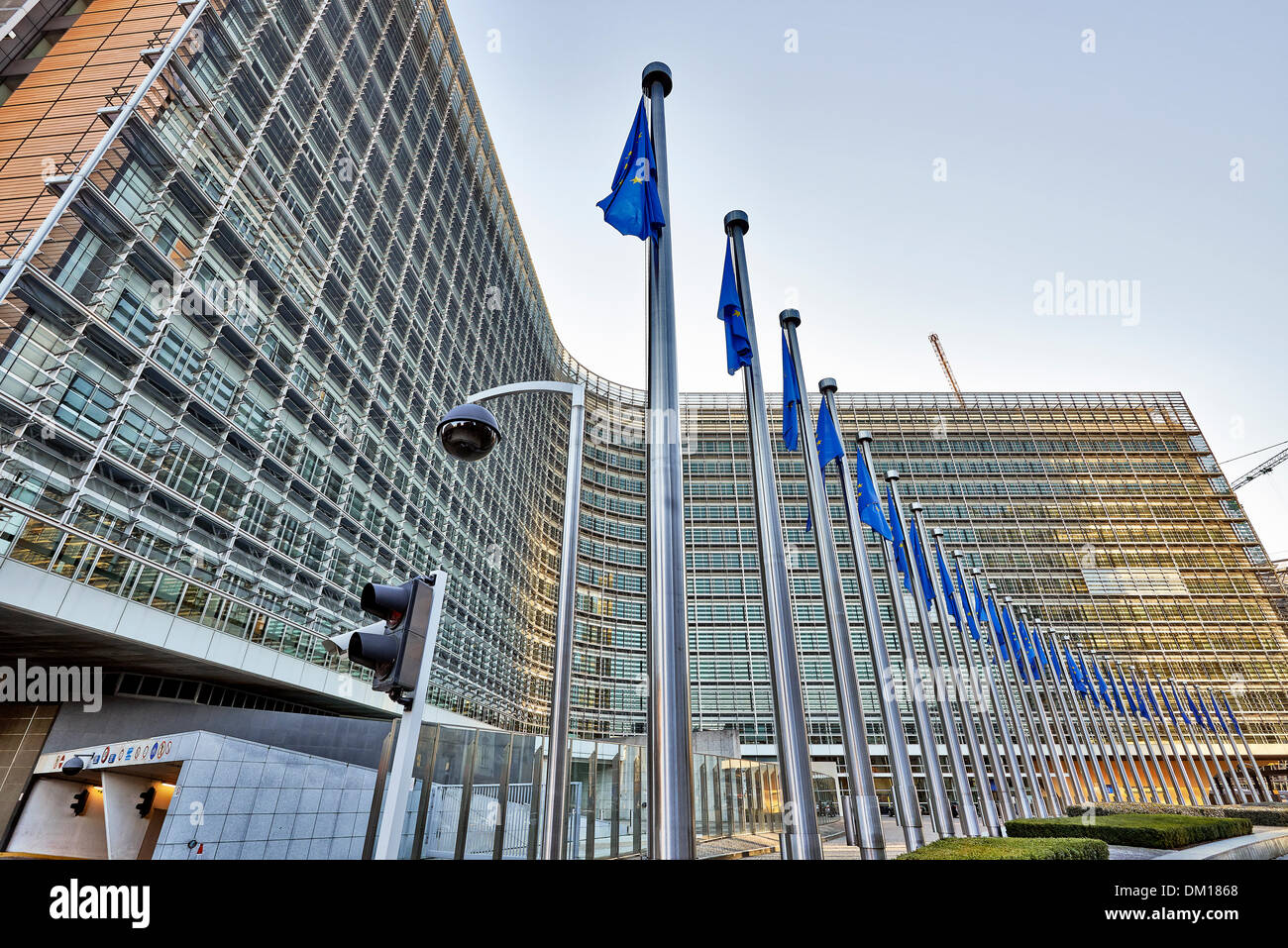 The Berlaymont building an flags - Stock Image